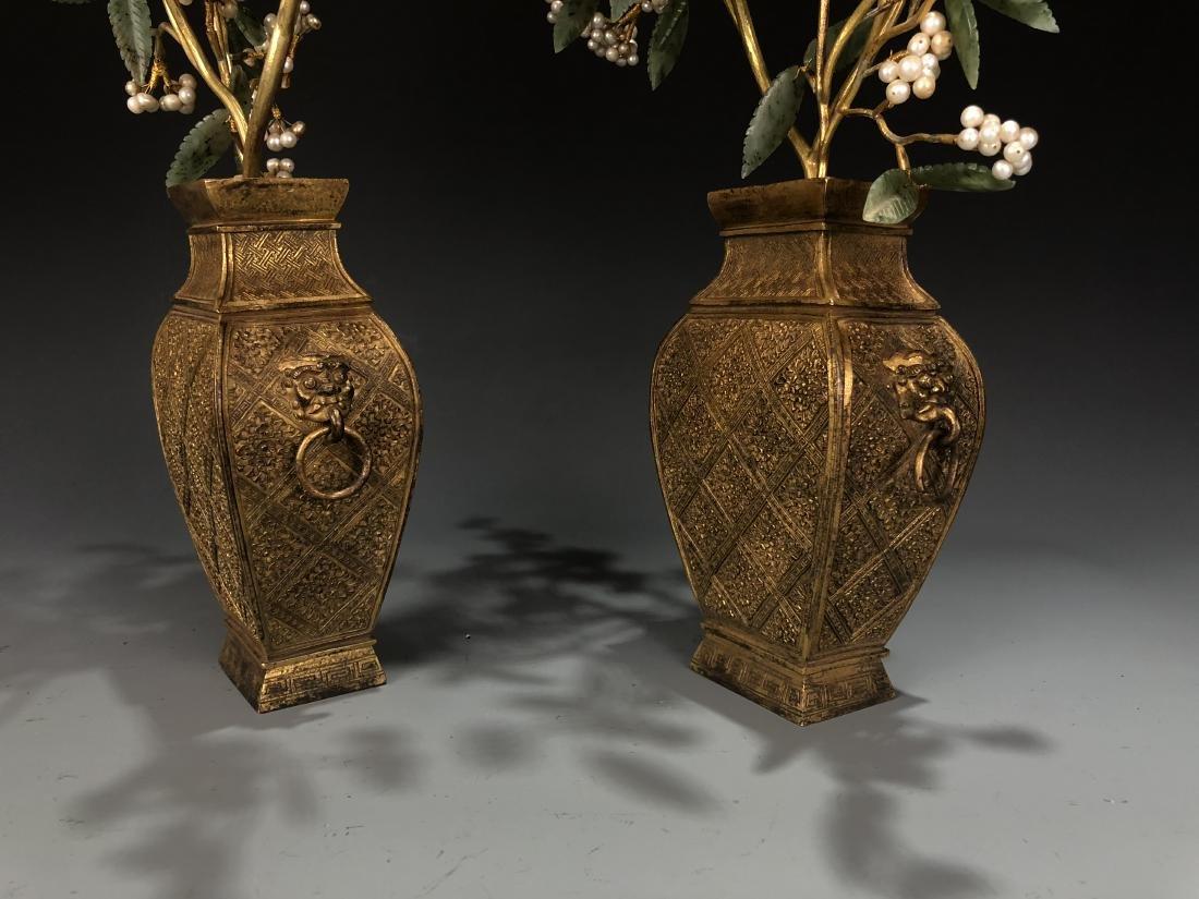 Pair Of Gilt-Bronze Jardinieres With Jadeite And Pearls - 3