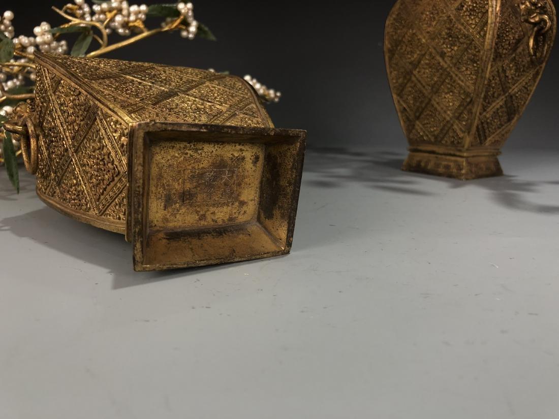 Pair Of Gilt-Bronze Jardinieres With Jadeite And Pearls - 8