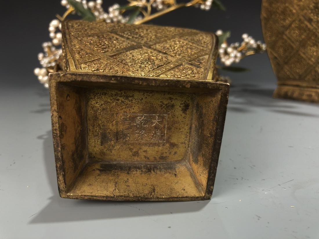 Pair Of Gilt-Bronze Jardinieres With Jadeite And Pearls - 9