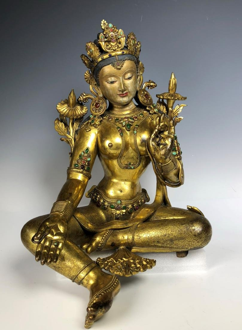 Large Gilt Bronze Figure of Shyama Tara