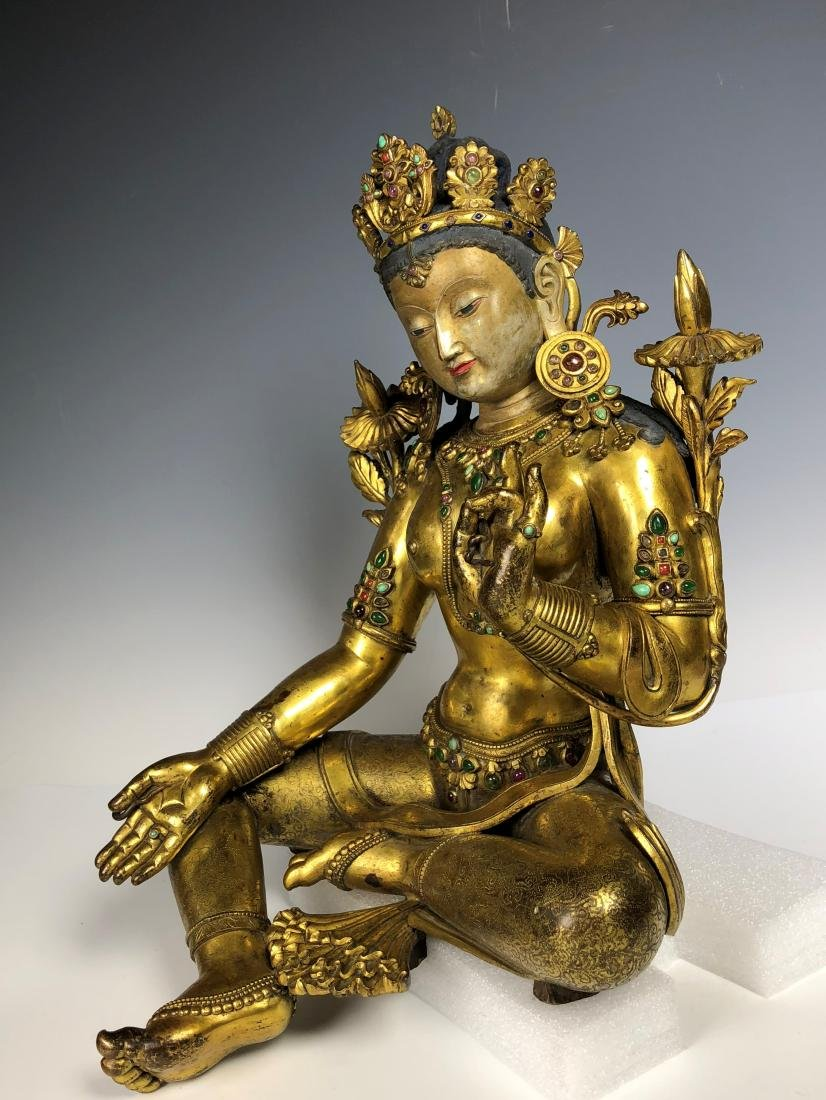 Large Gilt Bronze Figure of Shyama Tara - 2