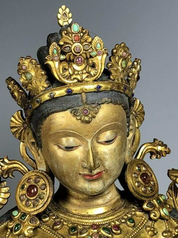 Large Gilt Bronze Figure of Shyama Tara - 4