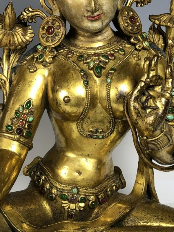 Large Gilt Bronze Figure of Shyama Tara - 5