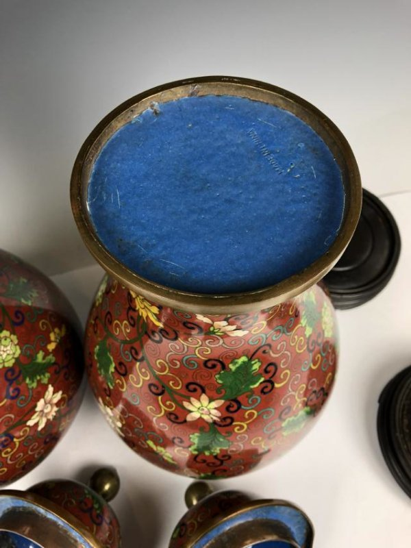 Pair of Cloisonne Enamel vases - 10
