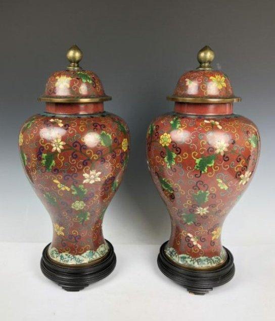 Pair of Cloisonne Enamel vases