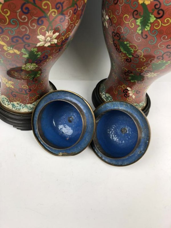 Pair of Cloisonne Enamel vases - 7