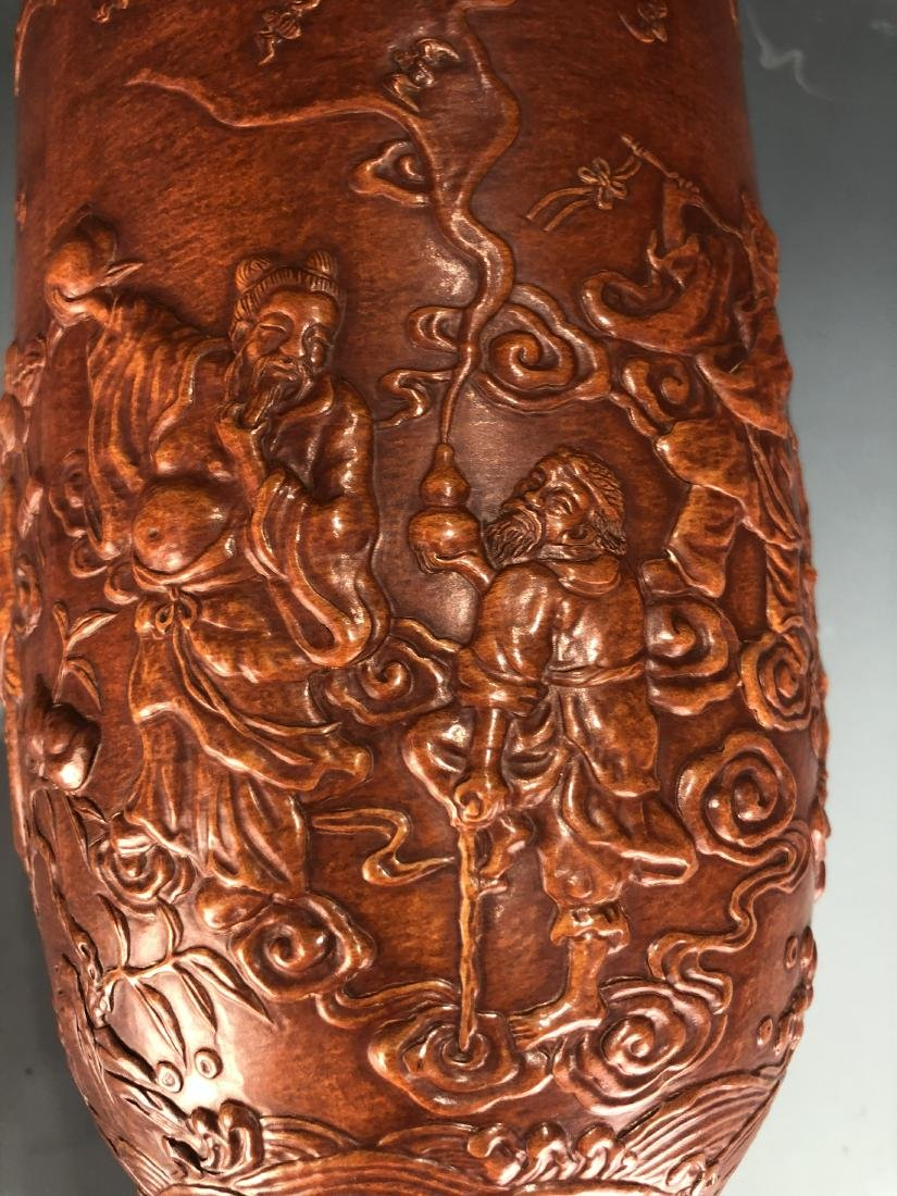 Lacquer Decorated Moulded Gourd 'Eight Immortals' Vase - 11