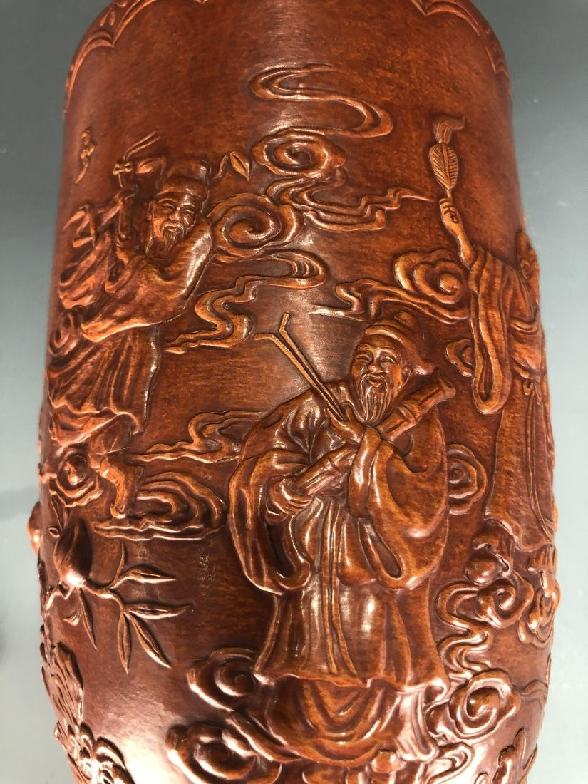 Lacquer Decorated Moulded Gourd 'Eight Immortals' Vase - 4