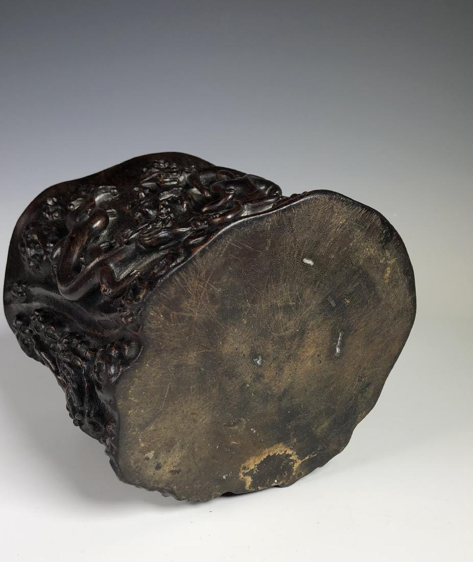 Carved Agar Wood Brush Pot - 7