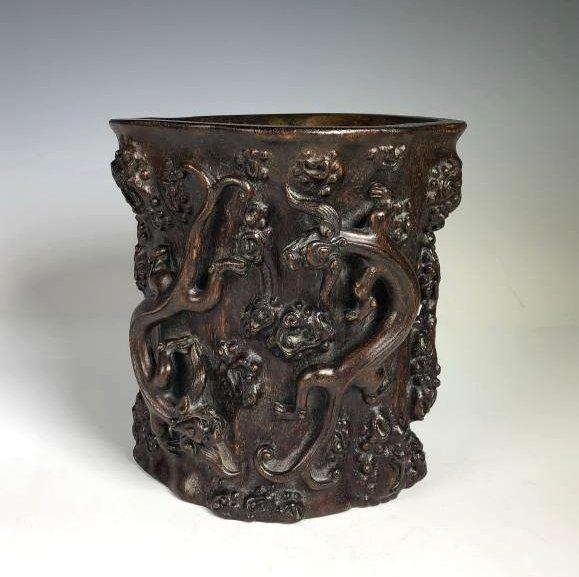 Carved Agar Wood Brush Pot