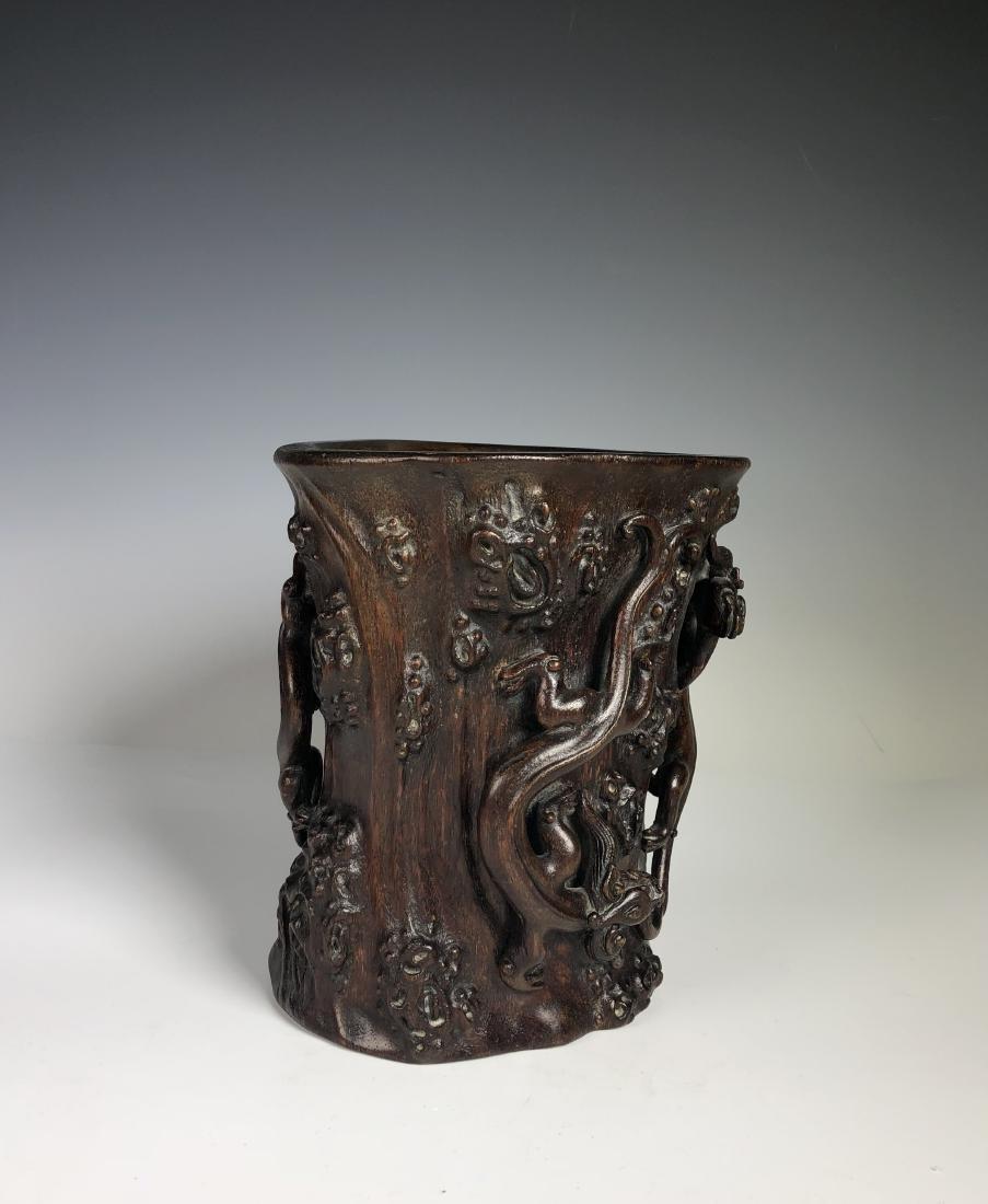Carved Agar Wood Brush Pot - 3