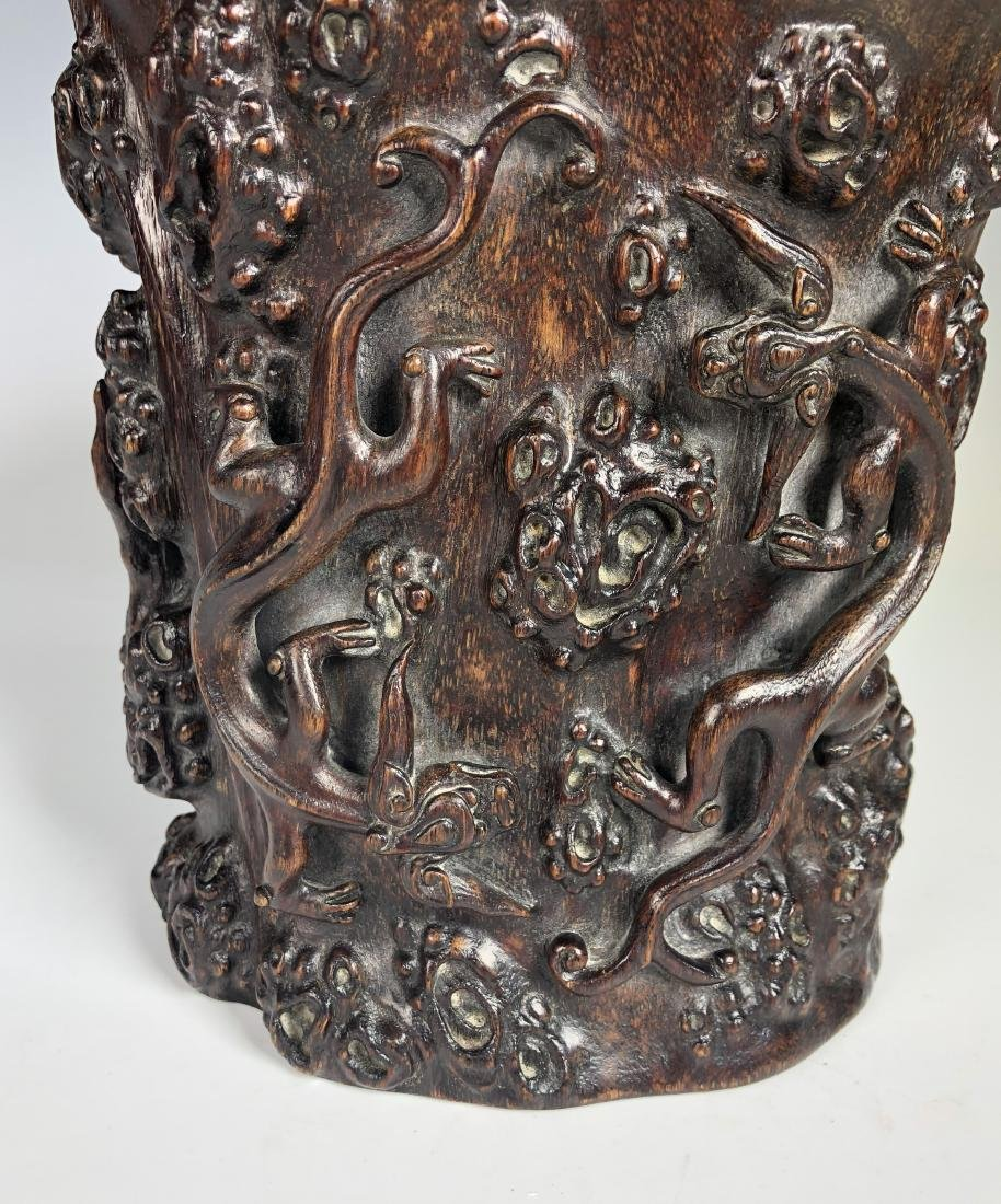 Carved Agar Wood Brush Pot - 6