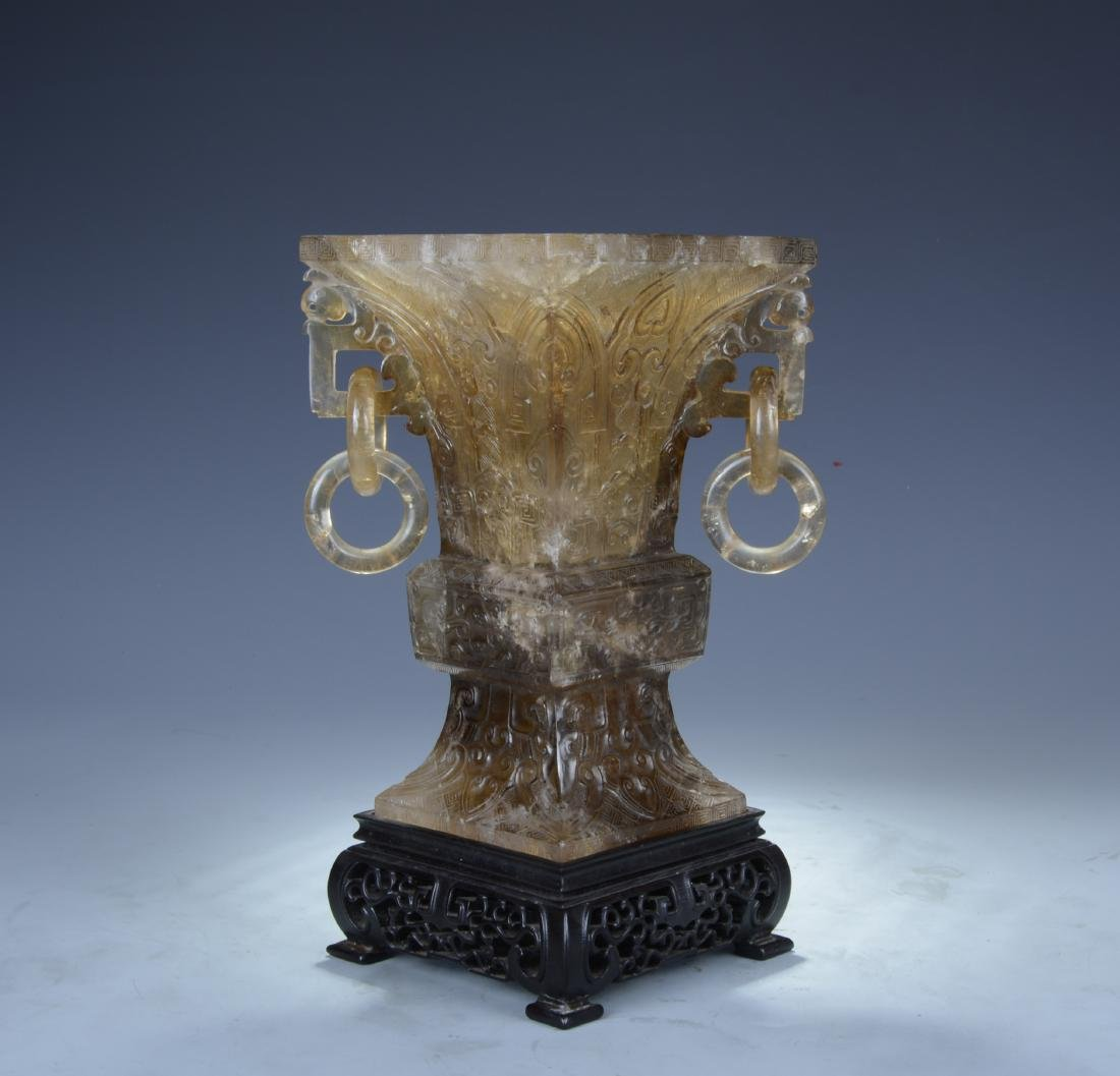 Rock Crystal GU form Vase on wood base