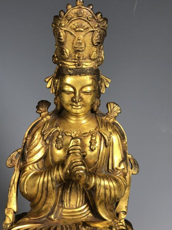 Gilt Bronze Figure Seated In A Lotus Petal Base - 10