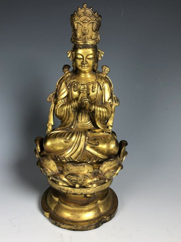 Gilt Bronze Figure Seated In A Lotus Petal Base - 11