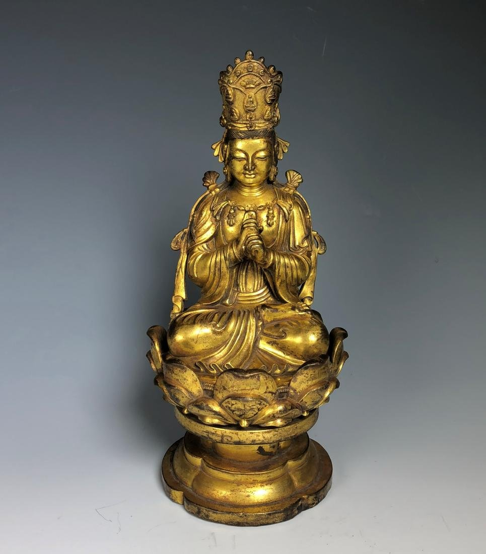 Gilt Bronze Figure Seated In A Lotus Petal Base