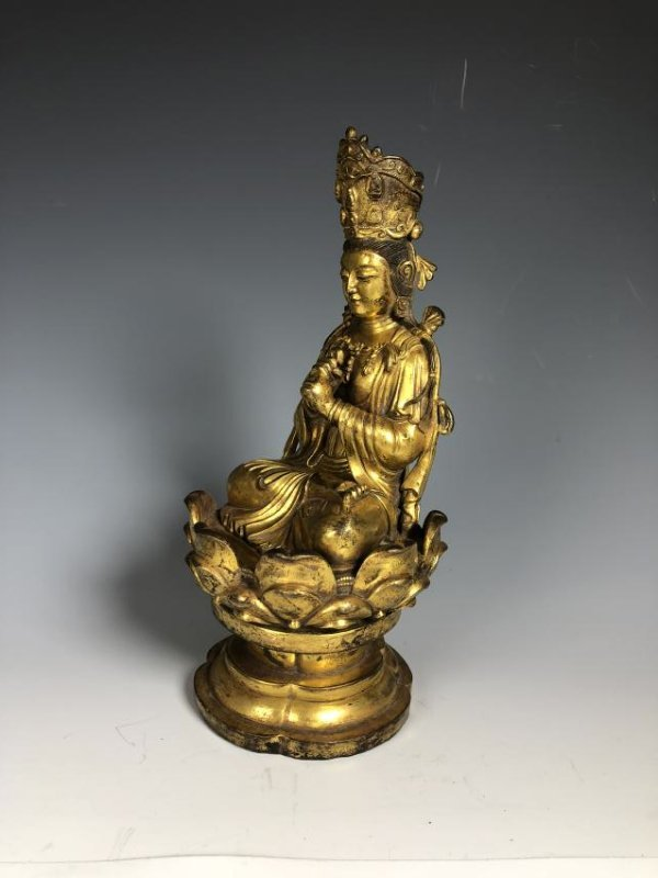 Gilt Bronze Figure Seated In A Lotus Petal Base - 3