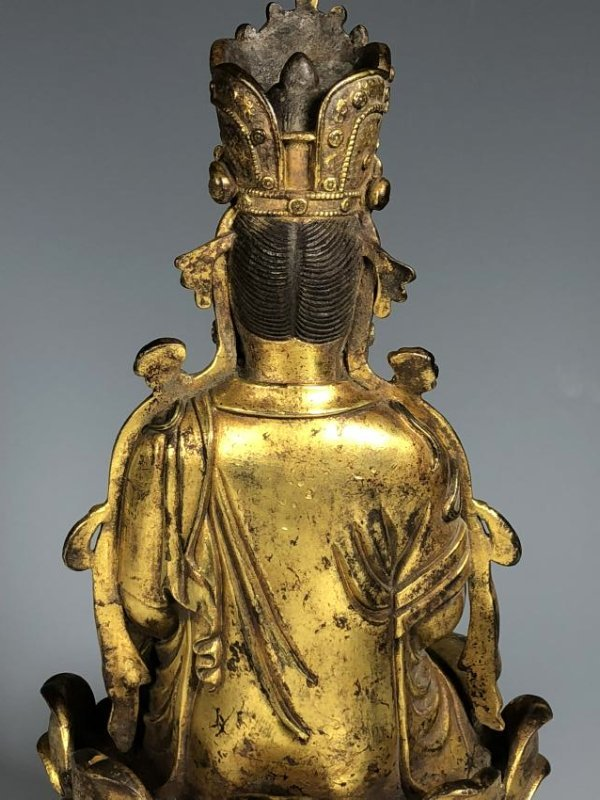 Gilt Bronze Figure Seated In A Lotus Petal Base - 7