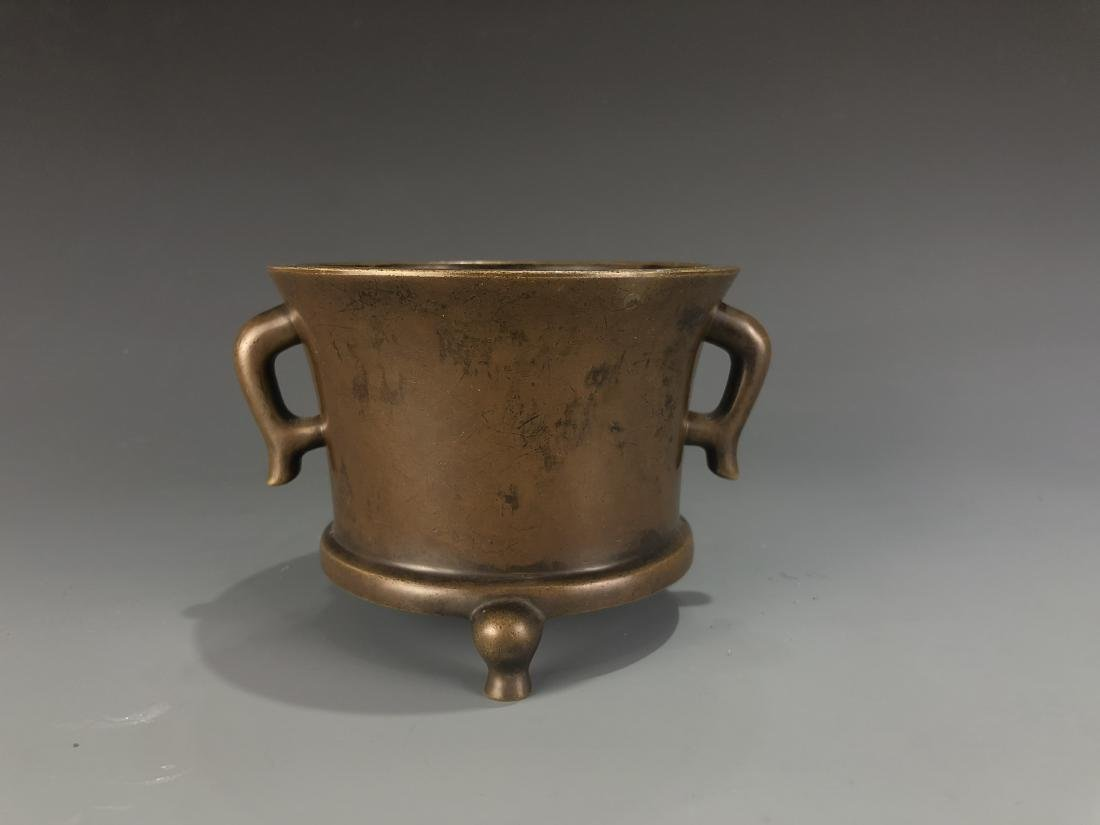 Bronze Tripod Censer With Mark - 4