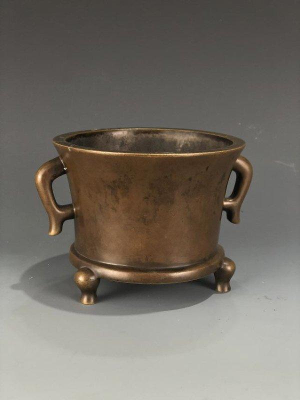 Bronze Tripod Censer With Mark - 6