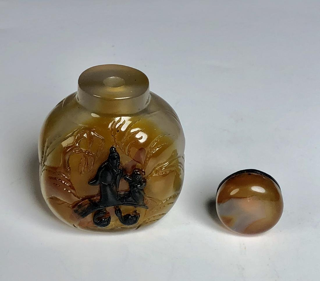 Chinese Carved Agate Snuff Bottle - 6