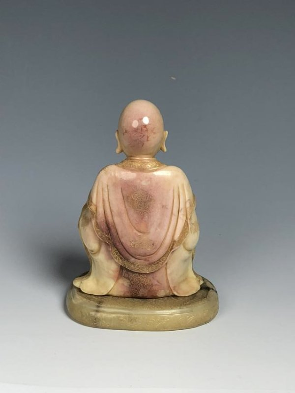 Carved Soap Stone Figure Holding Animal - 3