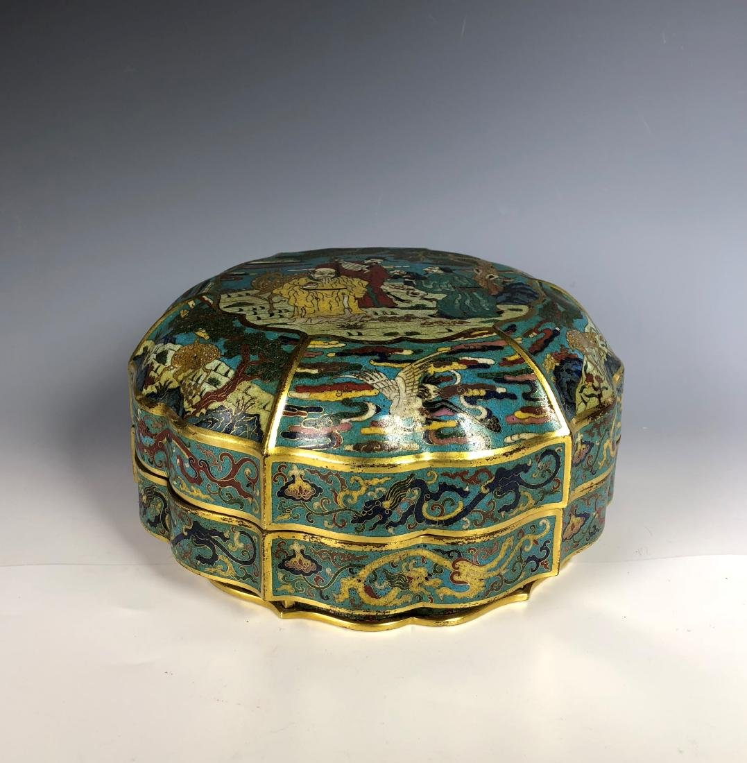 Chinese Cloisonne Enamelled Box with Cover