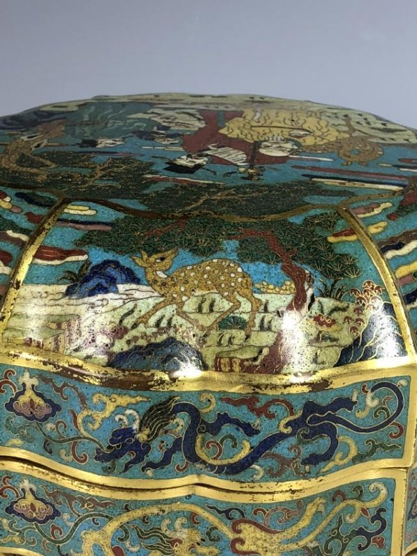 Chinese Cloisonne Enamelled Box with Cover - 9