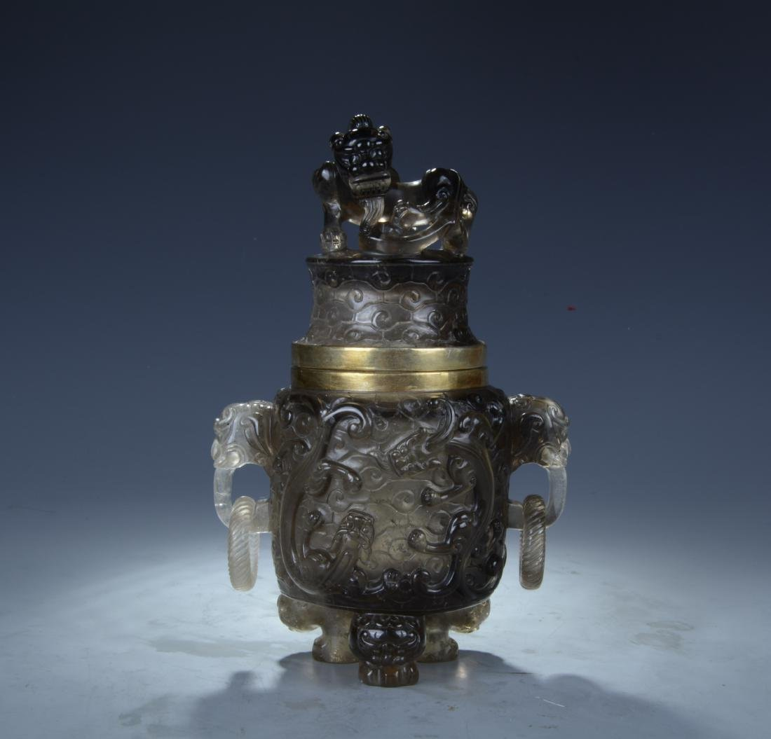 Chinese Quartz Crystal Vase with Lid