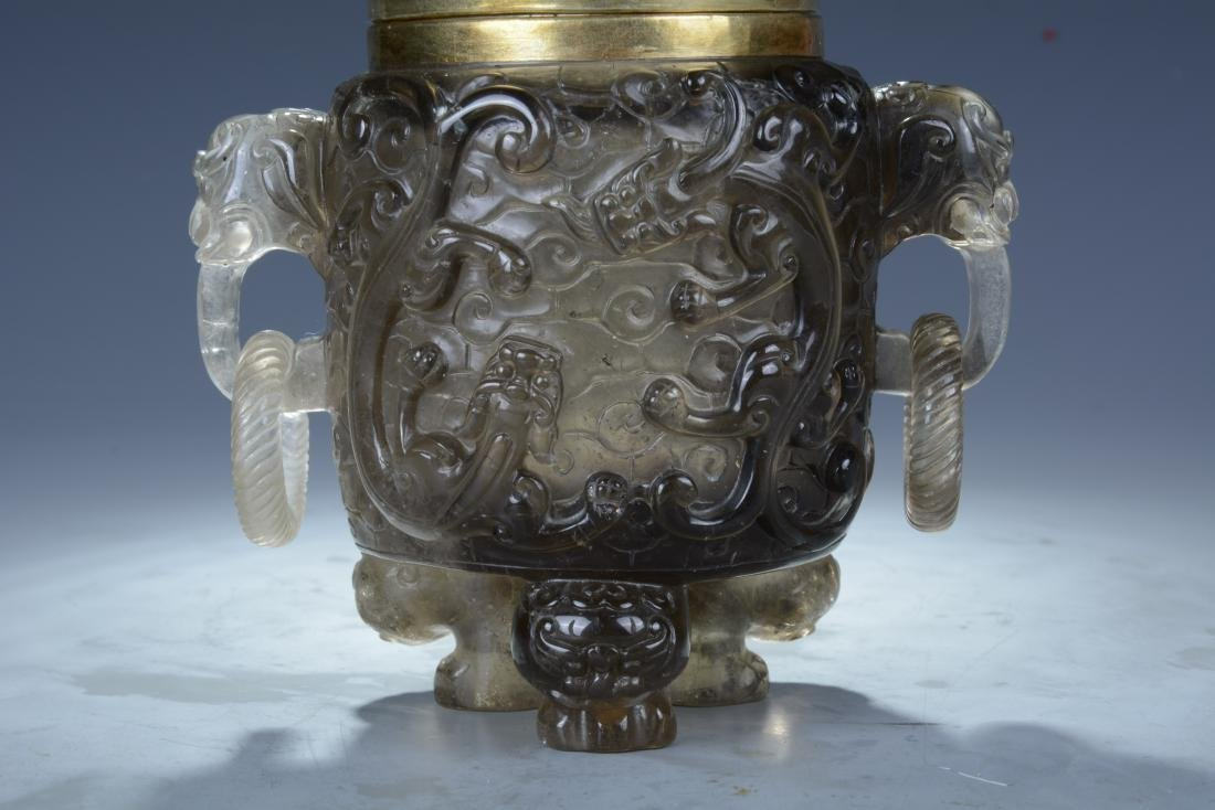 Chinese Quartz Crystal Vase with Lid - 4
