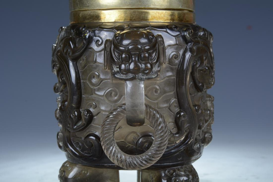 Chinese Quartz Crystal Vase with Lid - 6