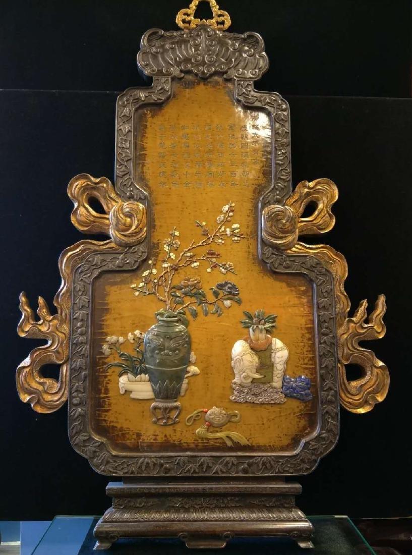 Hard wood frame with Stone Inlay Panel