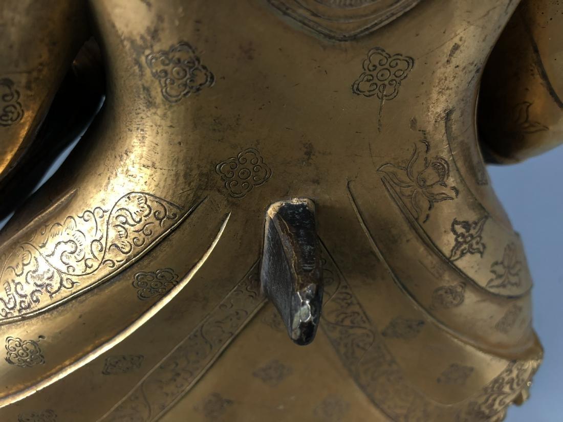 Gilt Bronze & Stones Inlaid Buddha Vaishravana - 10