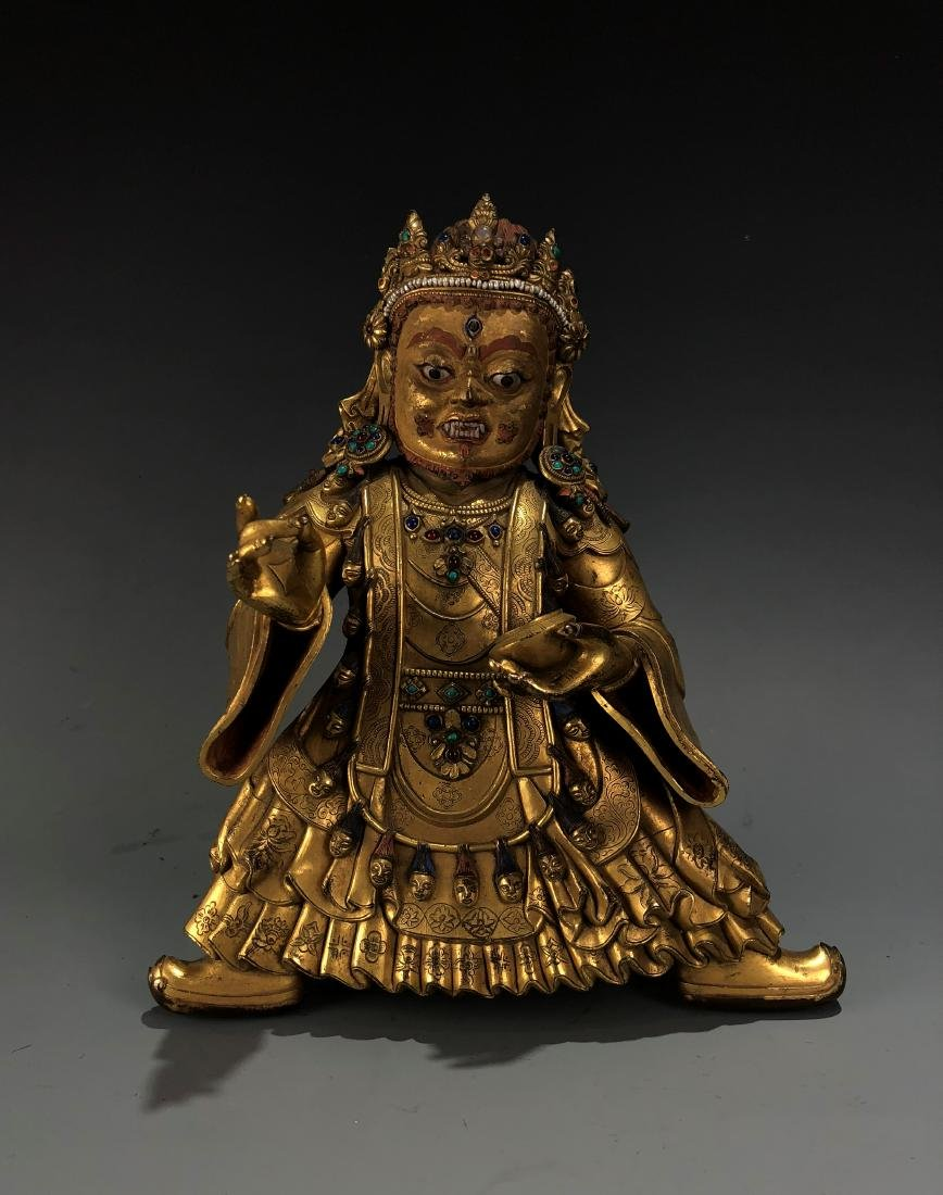 Gilt Bronze & Stones Inlaid Buddha Vaishravana