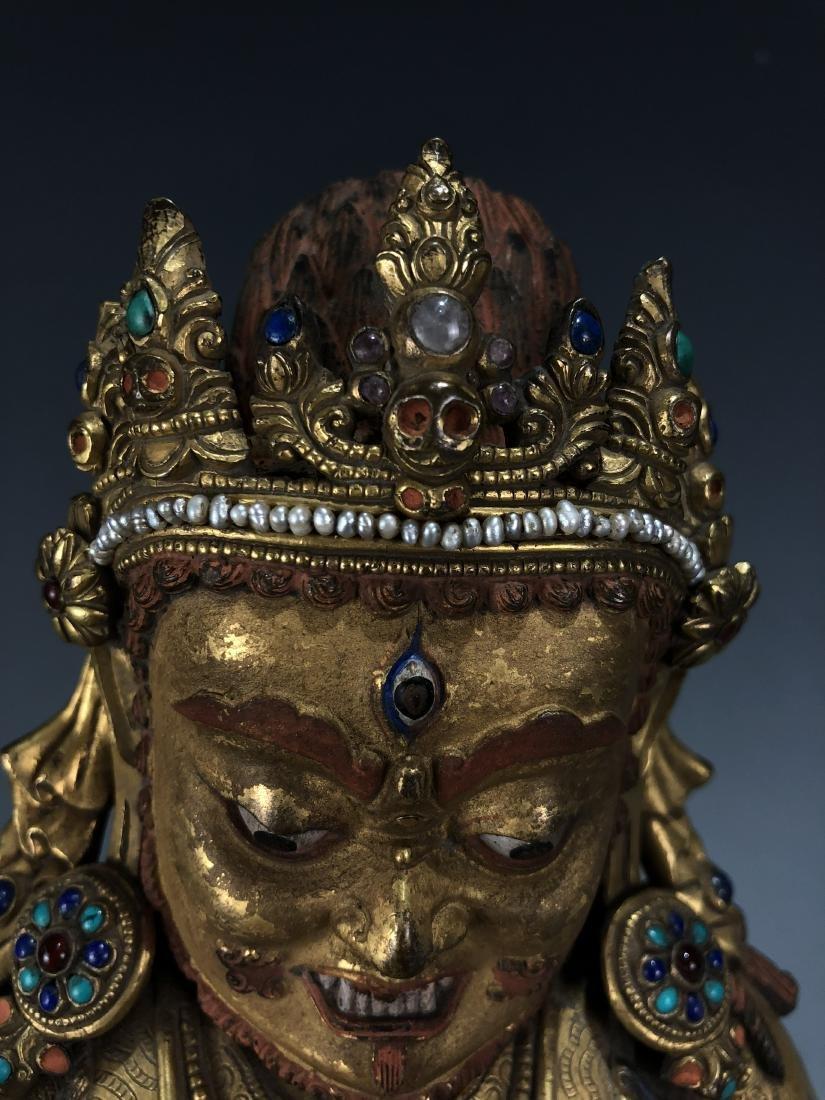 Gilt Bronze & Stones Inlaid Buddha Vaishravana - 2