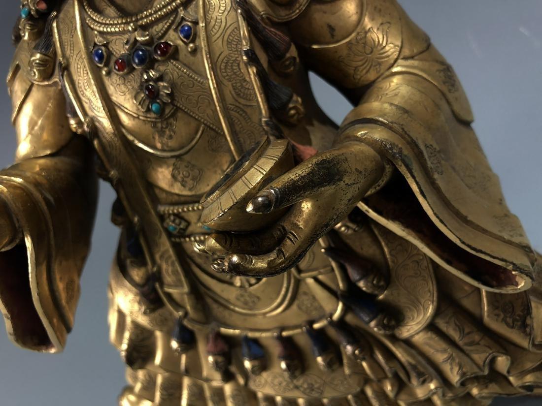Gilt Bronze & Stones Inlaid Buddha Vaishravana - 3