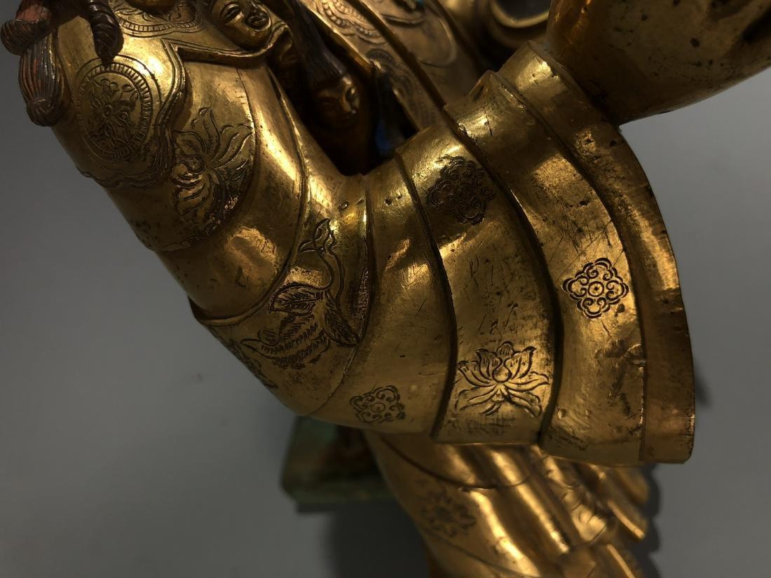 Gilt Bronze & Stones Inlaid Buddha Vaishravana - 4