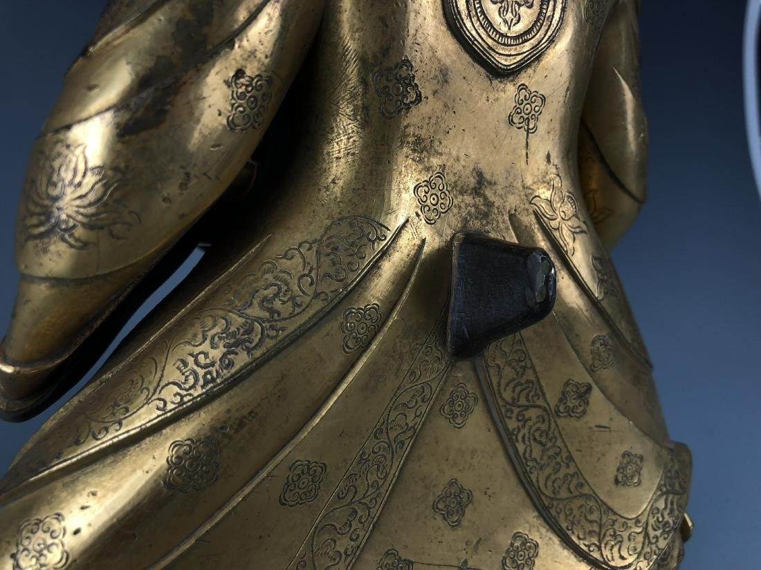Gilt Bronze & Stones Inlaid Buddha Vaishravana - 9
