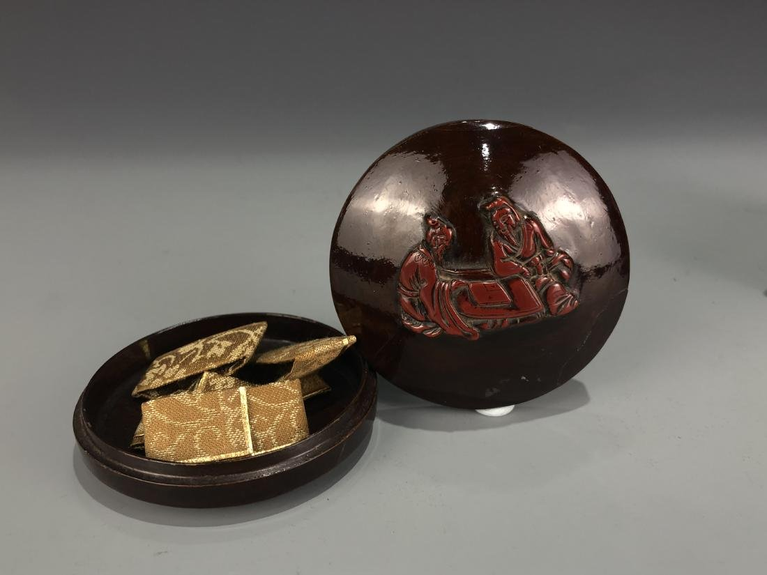 Lacquered Wood Circular Box with Cover - 2