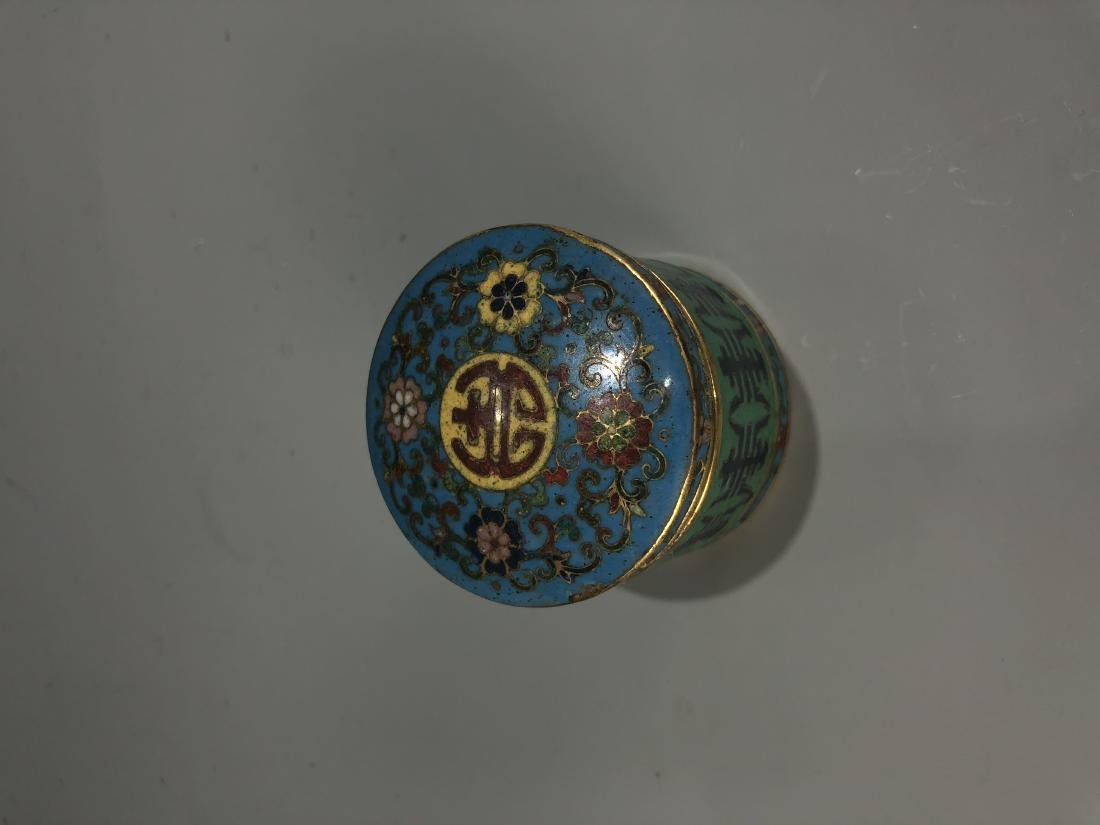 Cloisonne Enamel Archer Ring & Storage Container Marked - 2