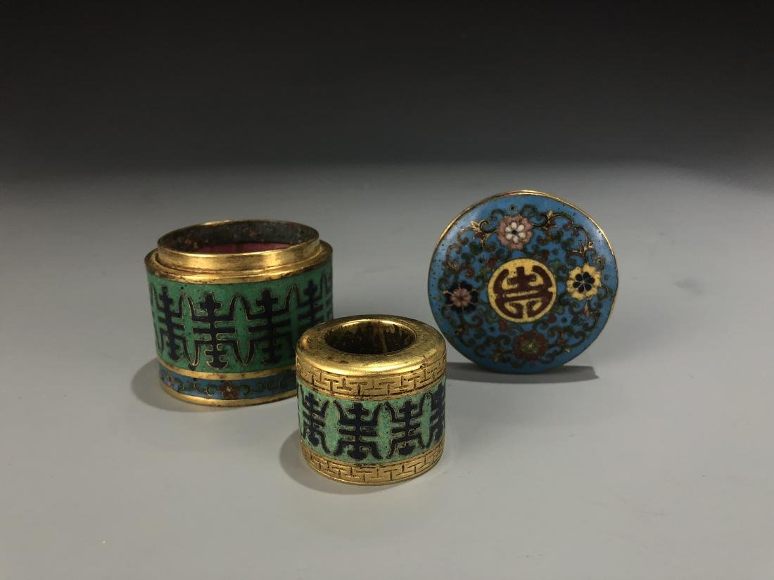 Cloisonne Enamel Archer Ring & Storage Container Marked - 3