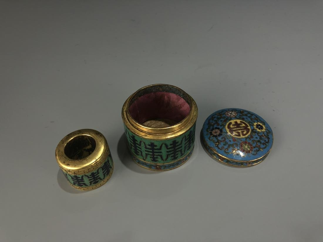 Cloisonne Enamel Archer Ring & Storage Container Marked - 4