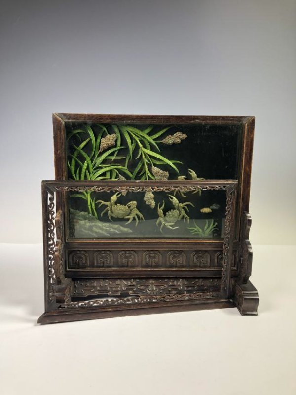 Wood Table Screen with Crabs and Bullrush Motif - 2