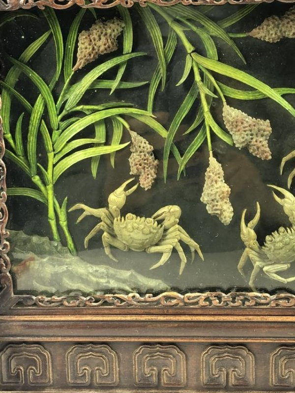Wood Table Screen with Crabs and Bullrush Motif - 4