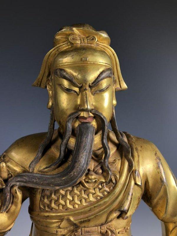Large Gilt Bronze Figure of GUANYU - 5