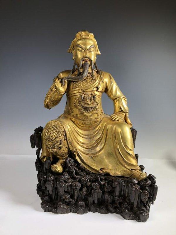 Large Gilt Bronze Figure of GUANYU
