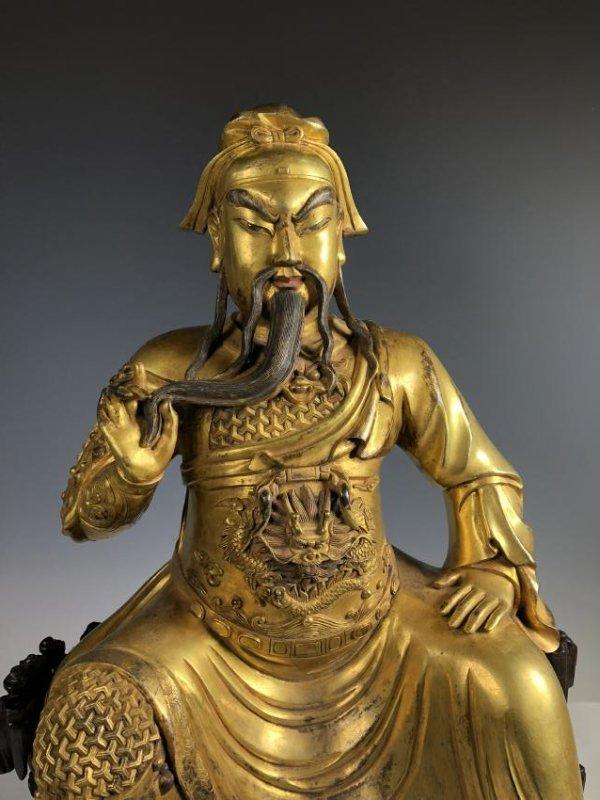 Large Gilt Bronze Figure of GUANYU - 2