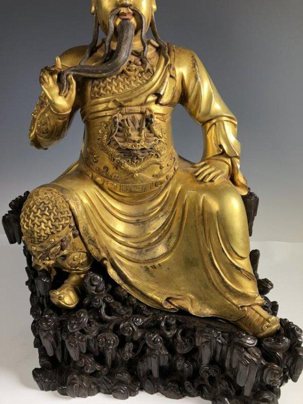 Large Gilt Bronze Figure of GUANYU - 3