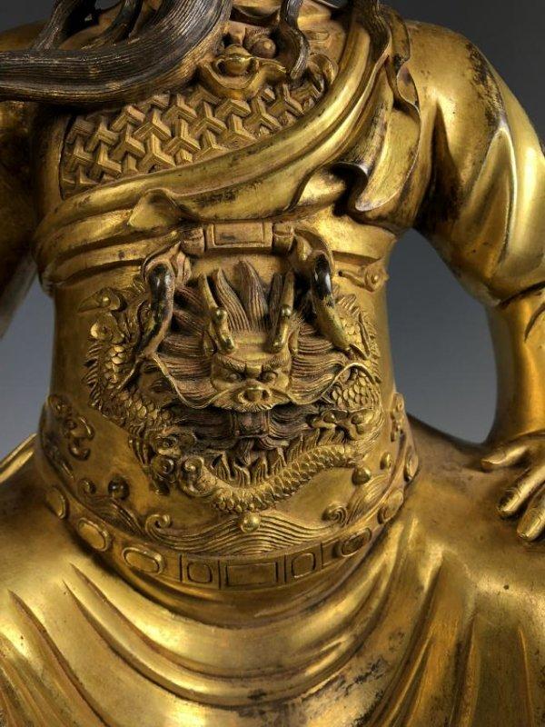 Large Gilt Bronze Figure of GUANYU - 4