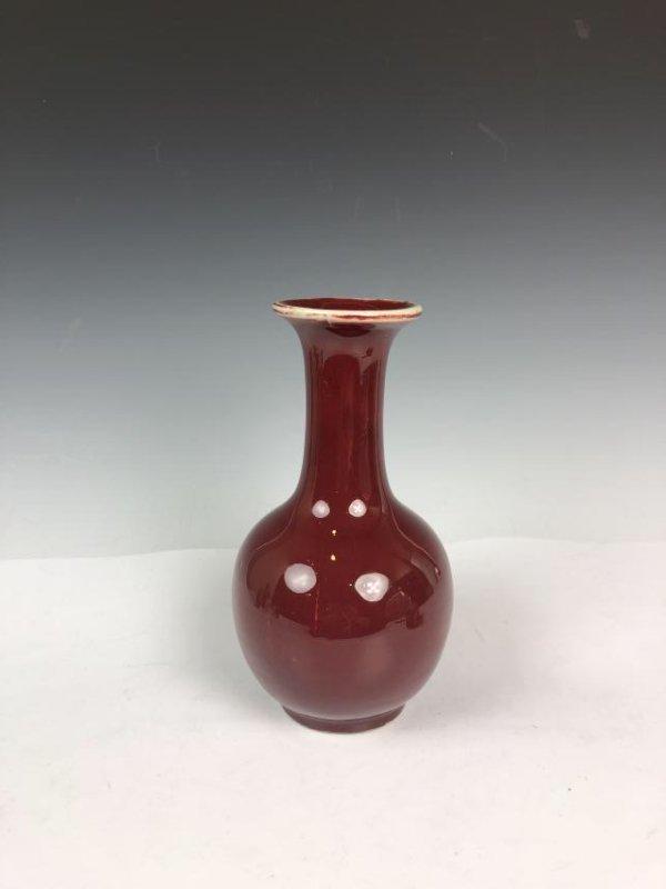 Red Glazed Porcelain Bottle Vase - 3